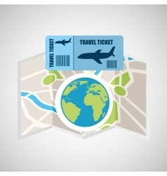 airline ticket map travel world global vector image