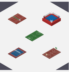 isometric competition set of b-ball soccer vector image vector image