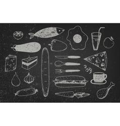 Set of hand drawn doodle food on chalkboard vector