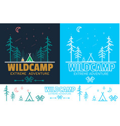 trendy camping logo badge set in outline style vector image vector image