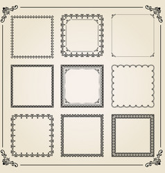vintage set of square elements vector image vector image