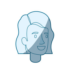 blue color silhouette shading of woman face with vector image vector image