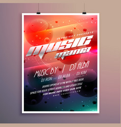 Music party event flyer with colorful background vector