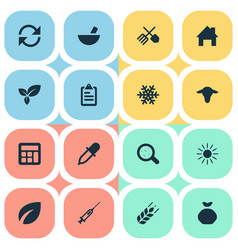 set of simple harvest icons vector image