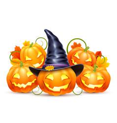 smiling halloween pumpkins vector image vector image