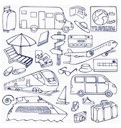 Travel set with transports vector image vector image