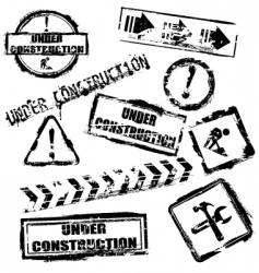 under construction stamps vector image vector image