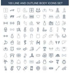 100 body icons vector