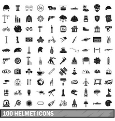 100 helmet icons set simple style vector