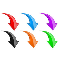 3d down colored arrows set vector image