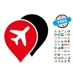 Airport Markers Icon with 2017 Year Bonus vector image