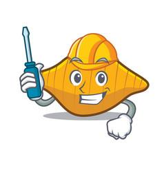 Automotive conchiglie pasta mascot cartoon vector