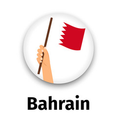 Bahrain flag in hand round icon vector