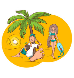 Beach vacation young man and woman are drinking vector
