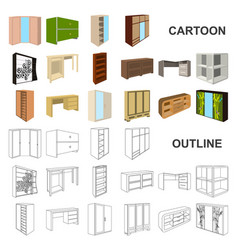 Bedroom furniture cartoon icons in set collection vector