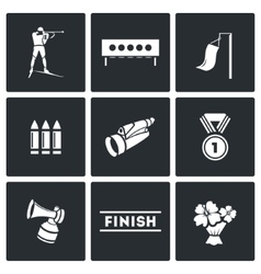 Biathlon icon set vector