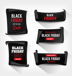 Black friday sale on parchment scrolls vector