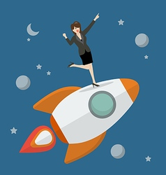 Business woman standing on a rocket vector image