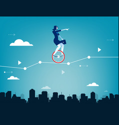 businesswoman balancing on unicycle and drive vector image