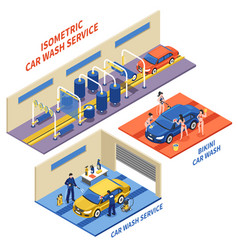 car wash service isometric compositions vector image