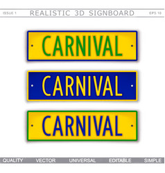 Carnival car license plate stylized top view vector