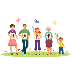 cartoon family members holding happy word letters vector image