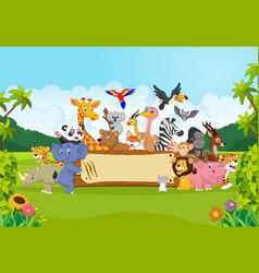 Cartoon wild animals holding banner vector