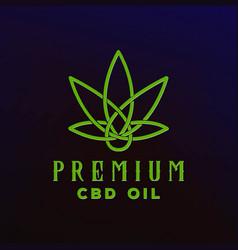 cbd cannabis marijuana hemp pot leaf with line art vector image