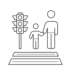 Child and parent crossing a sidewalk line icon vector