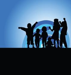 Children on moonlight silhouette vector