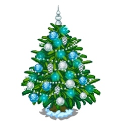 Christmas tree with blue and silver toys vector image