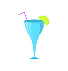 cocktail in glass served with cut lime and straw vector image