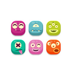 collection colorful buttons emoticons vector image
