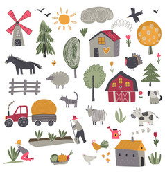 collection cute hand drawn farm animals vector image