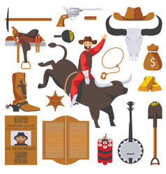 Collection wild west objects isolated on vector