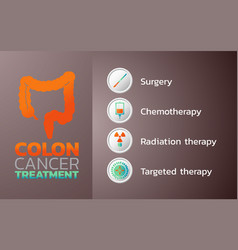 Colon cancer treatment icon design infographic vector