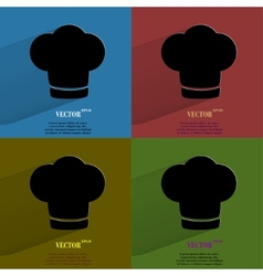 Color set Chef cap Cooking Flat modern web button vector