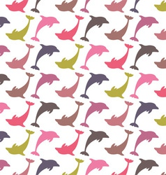 Colorful dolphin pattern vector image