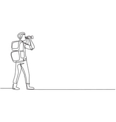 Continuous one line drawing male adventurer vector