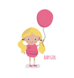 cute little baby girl with balloon vector image