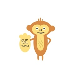 Cute monkey with a sign for text vector image