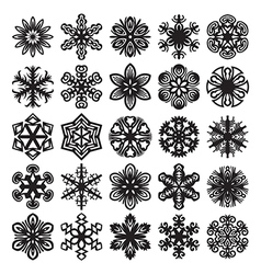 Decorative snowflakes icons vector image