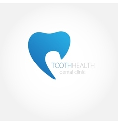 Dental clinic logo with blue tooth icon vector image