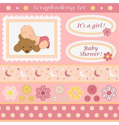 Digital scrapbooking set for baby girl vector image