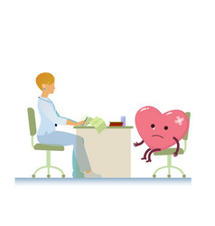 doctor with diseased heart symbol cartoon - world vector image