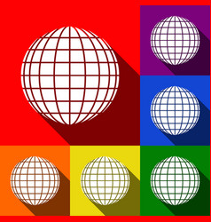 earth globe sign set of icons with flat vector image