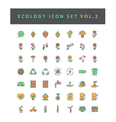 ecology icon set with filled outline style design vector image