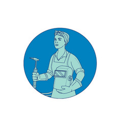 Female welder acetylene welding torch mono line vector