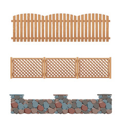 Fences collection wooden stone and plastic fence vector