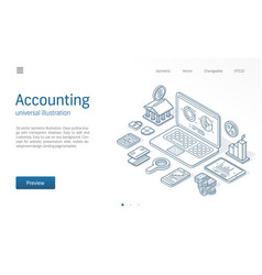 Finance modern isometric line vector